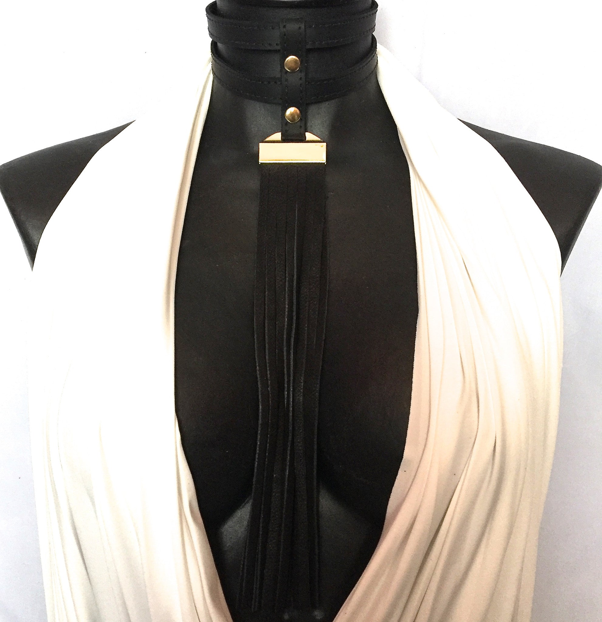 DOUBLE LEATHER CHOKER NECKLACE WITH LONG DEERSKIN LEATHER FRINGE by nyet jewelry