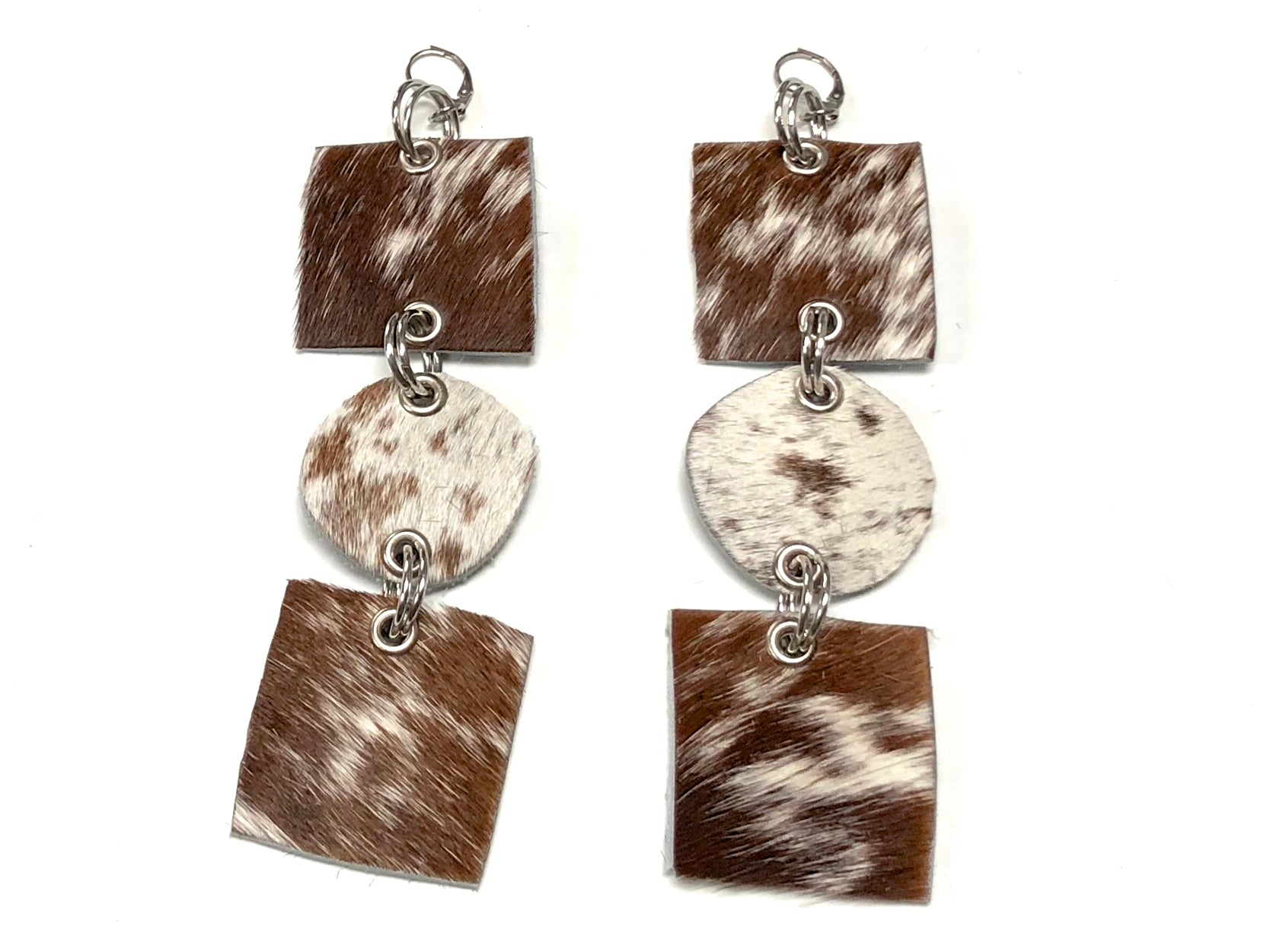hair on cowhide drop earrings by NYET Jewelry