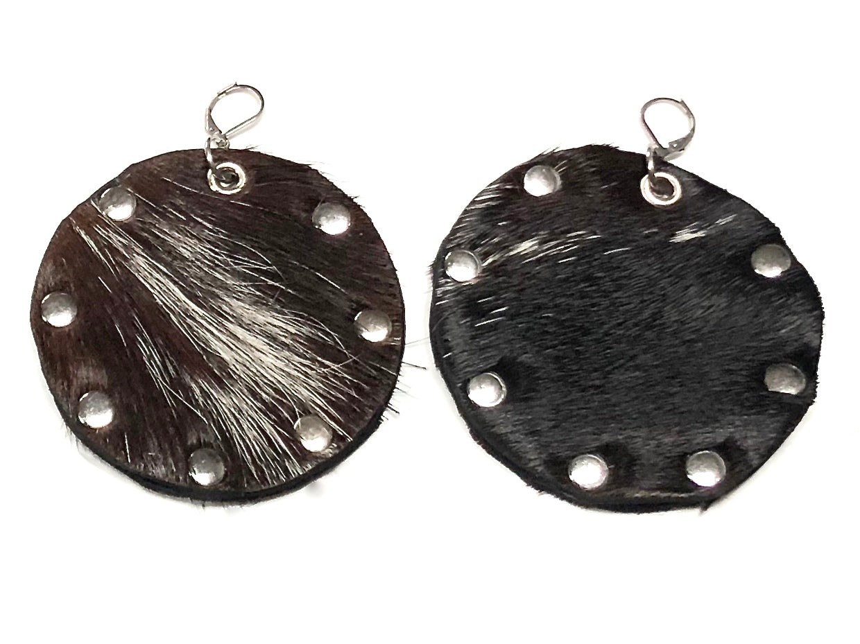 HAIR-ON COWHIDE DISC EARRINGS WITH METAL RIVETS NYET Jewelry