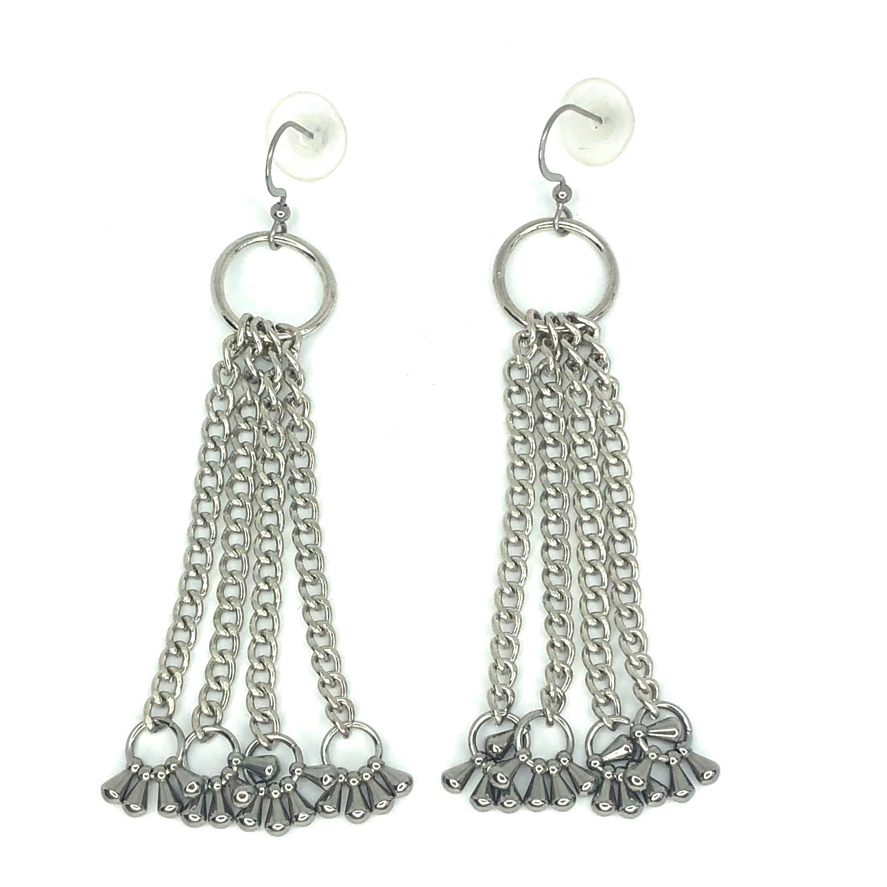 CHAIN EARRINGS WITH CLUSTER OF TEAR DROPS BY NYET JEWELRY.