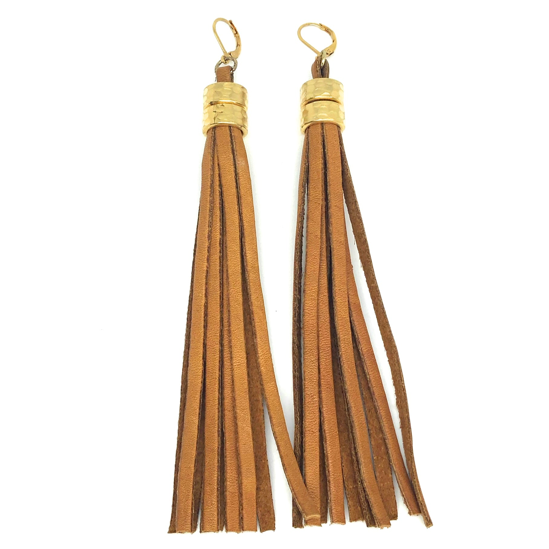 nyet jewelry HAMMERED STEEL AND DEERSKIN LEATHER earrings
