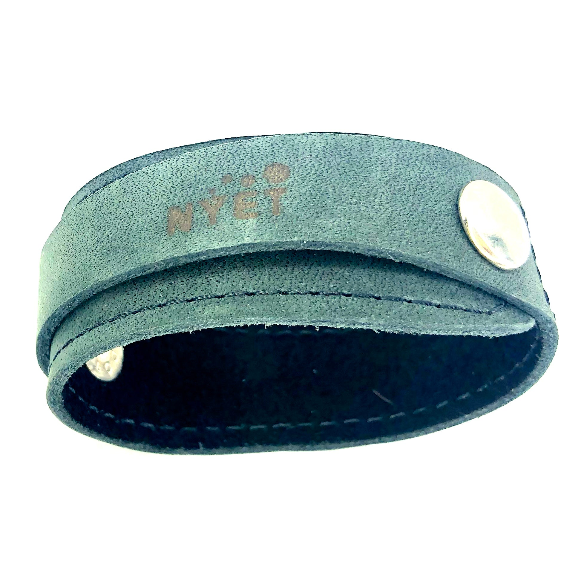 WRAP LEATHER BRACELET WITH DOUBLE SNAP CLOSURE by nyet jewelry.