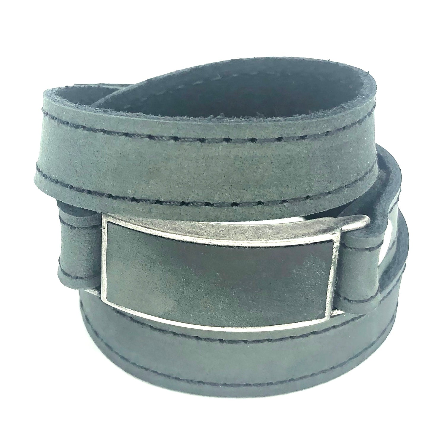 LEATHER WRAPAROUND WITH METAL LINK INLAID WITH MATCHING PIECE OF LEATHER by nyet jewelry