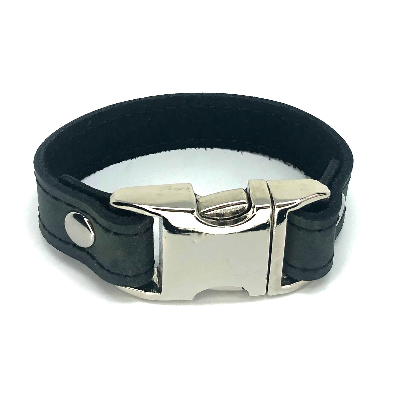 Distressed leather bracelet with side squeeze aluminum buckle by NYET Jewelry