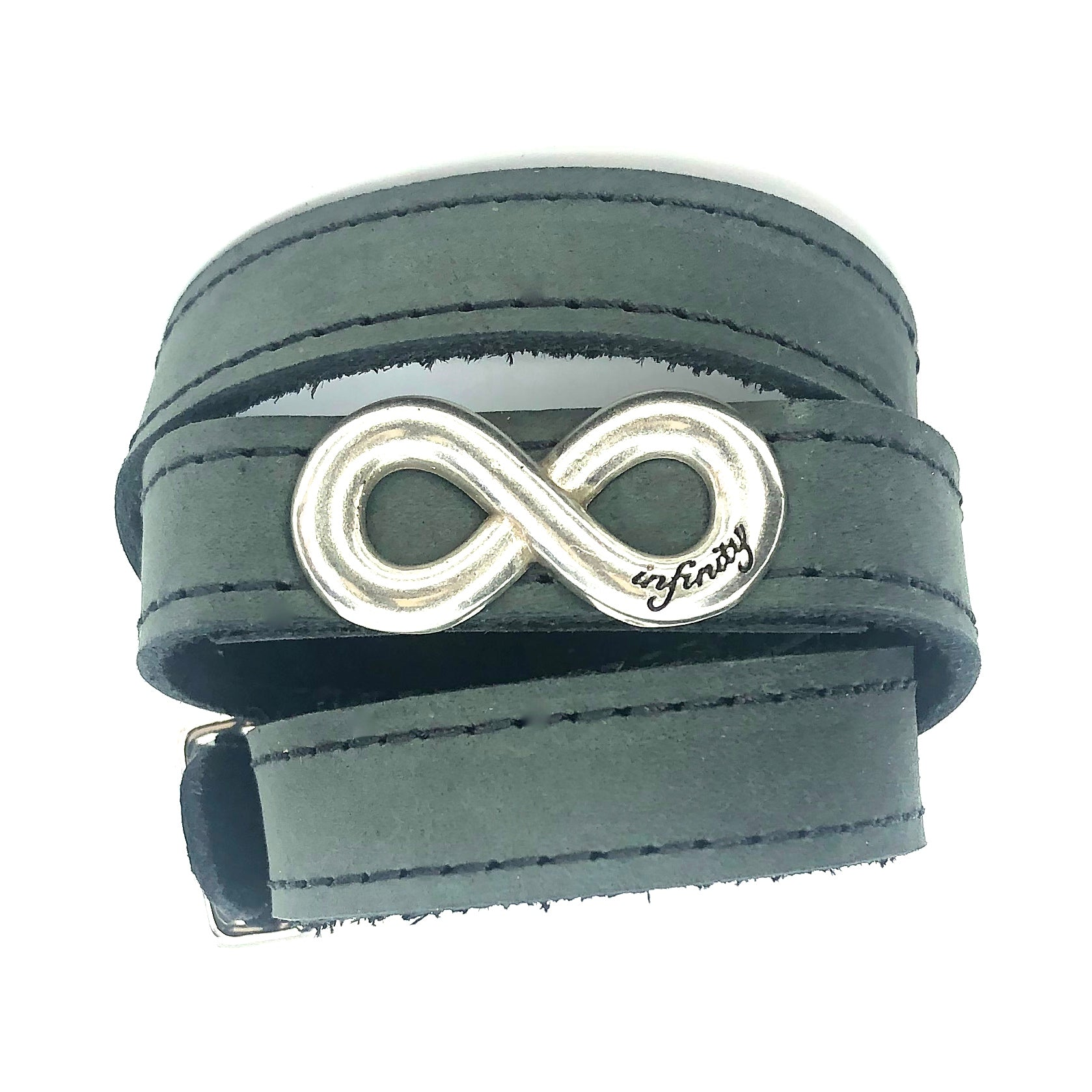 WRAPAROUND STITCHED LEATHER BRACELET WITH INFINITY CONCHO by nyet jewelry