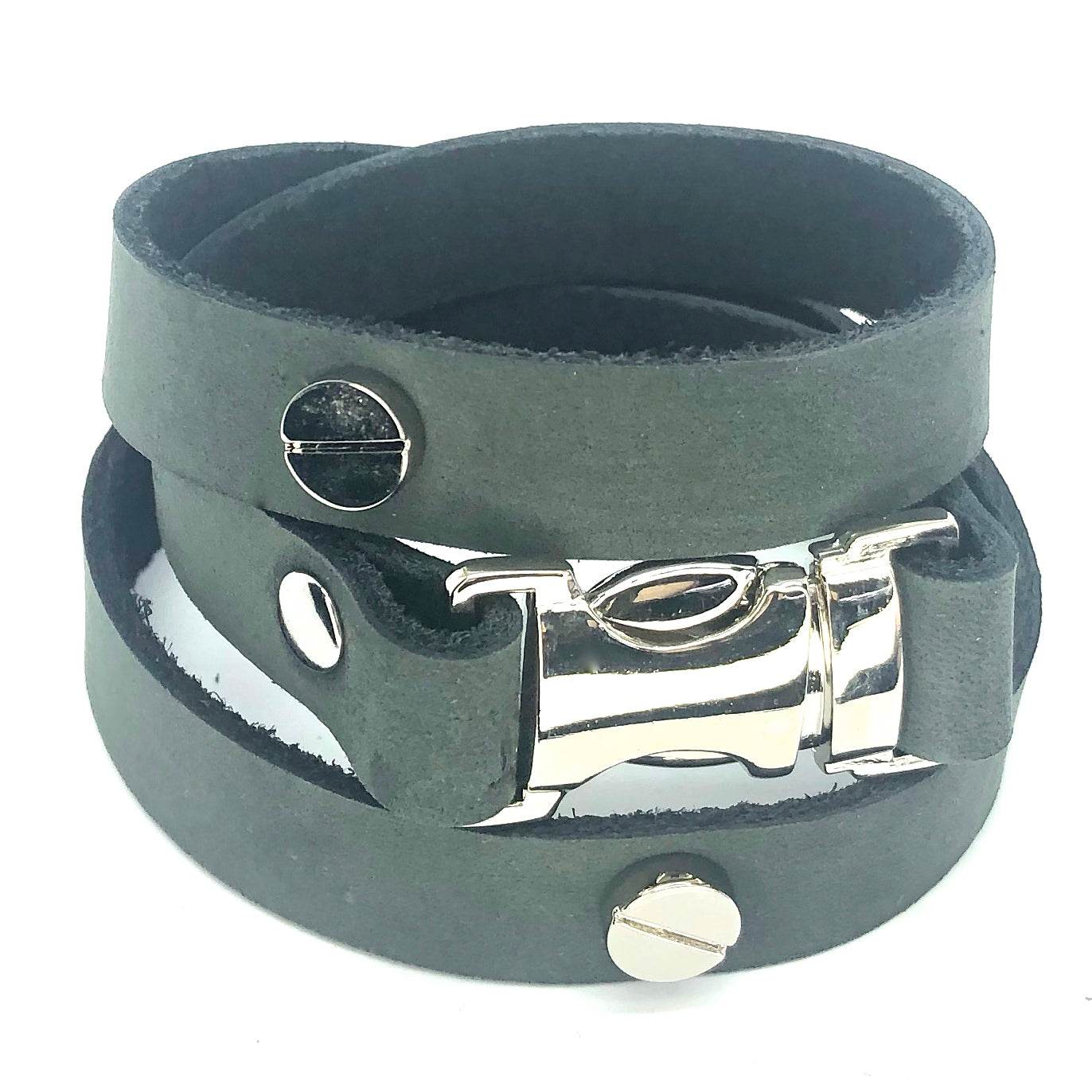 Quicksnap triple leather wraparound bracelet distressed utility leather by nyet jewelry,