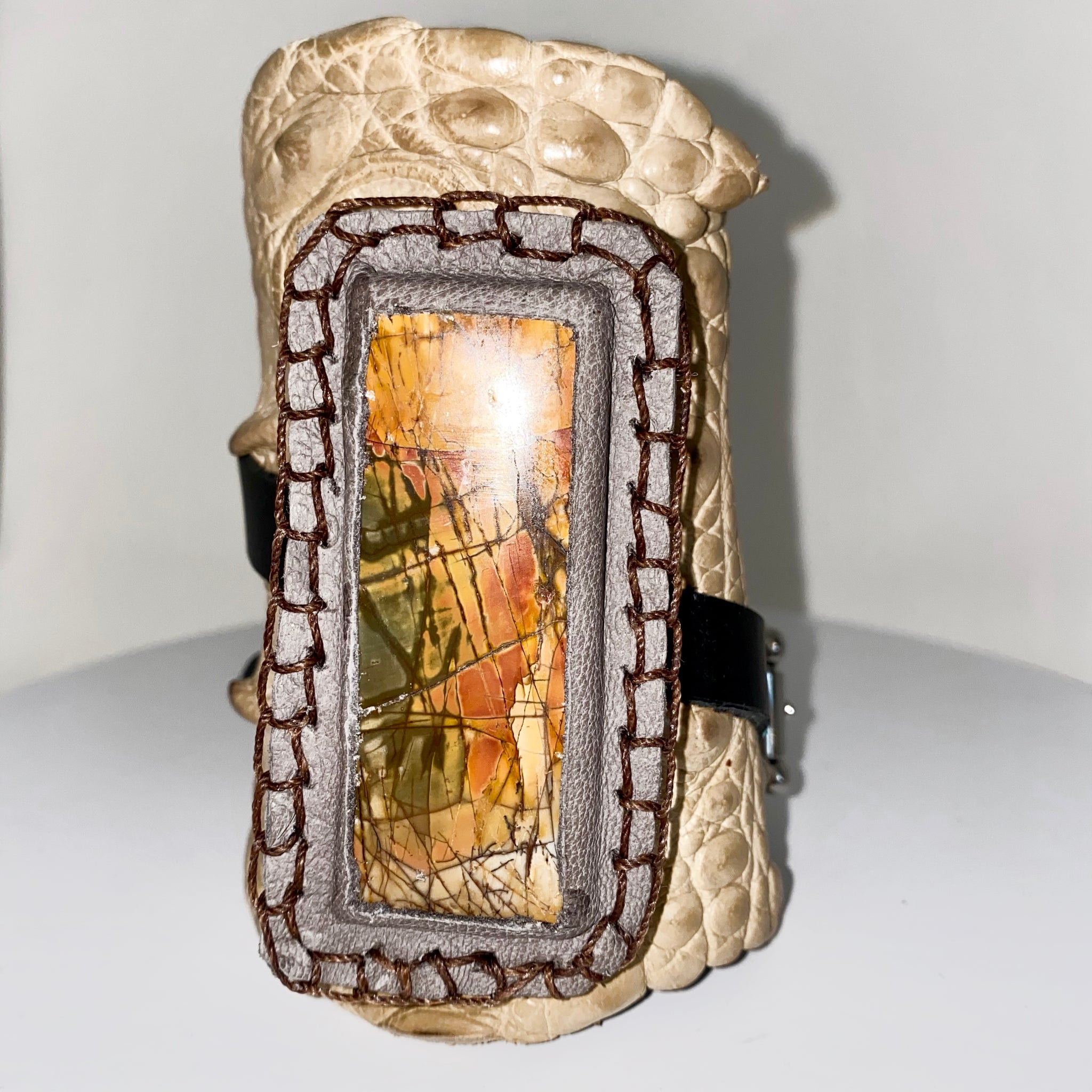 crocodile cuff with large stone set in leather by NYET Jewelry.