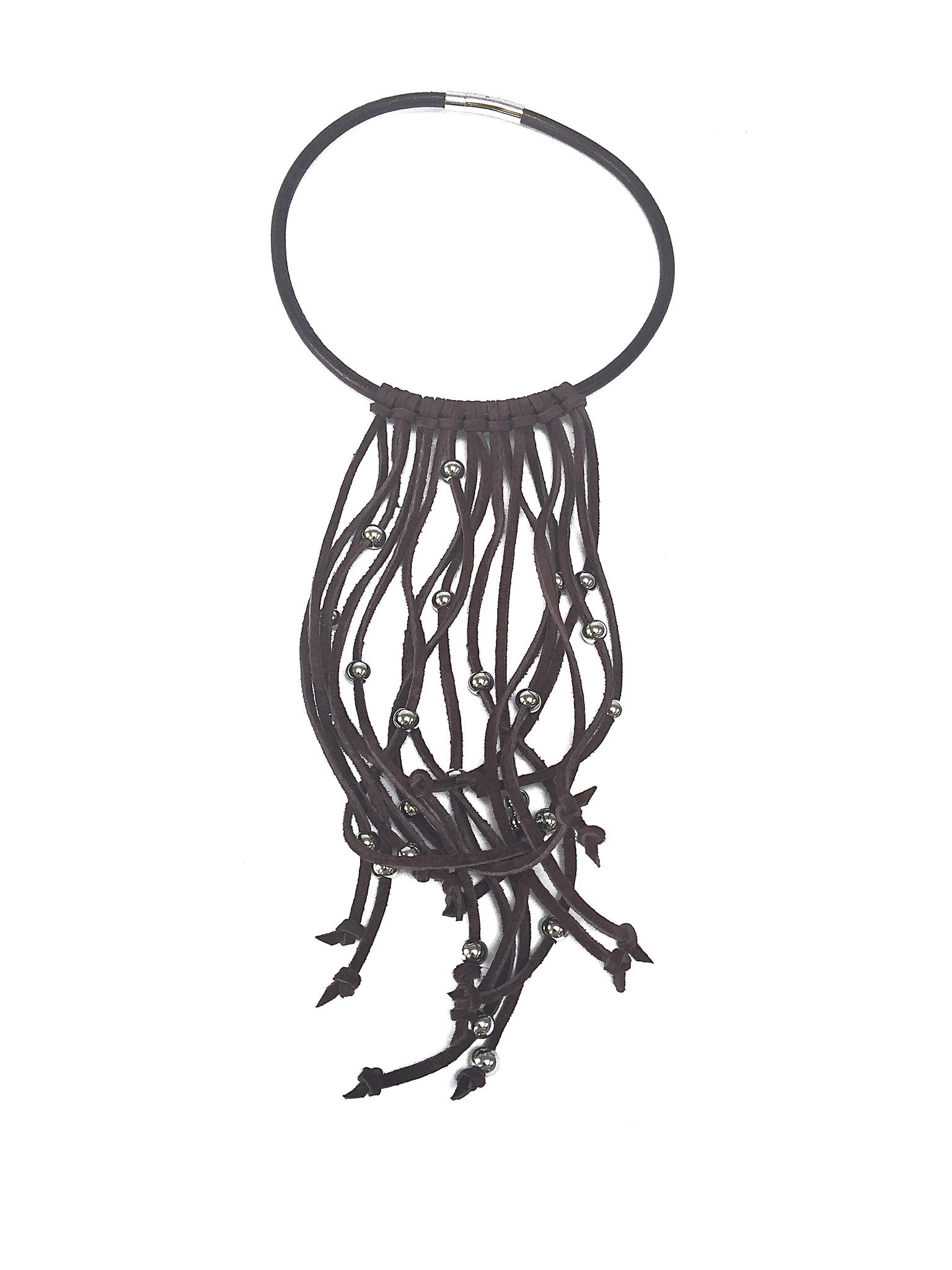 pinball necklace Brown with suede fringe by nyet jewelry.