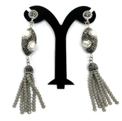 Baroque Pear Earrings and crystal tassels by NYET Jewelry.