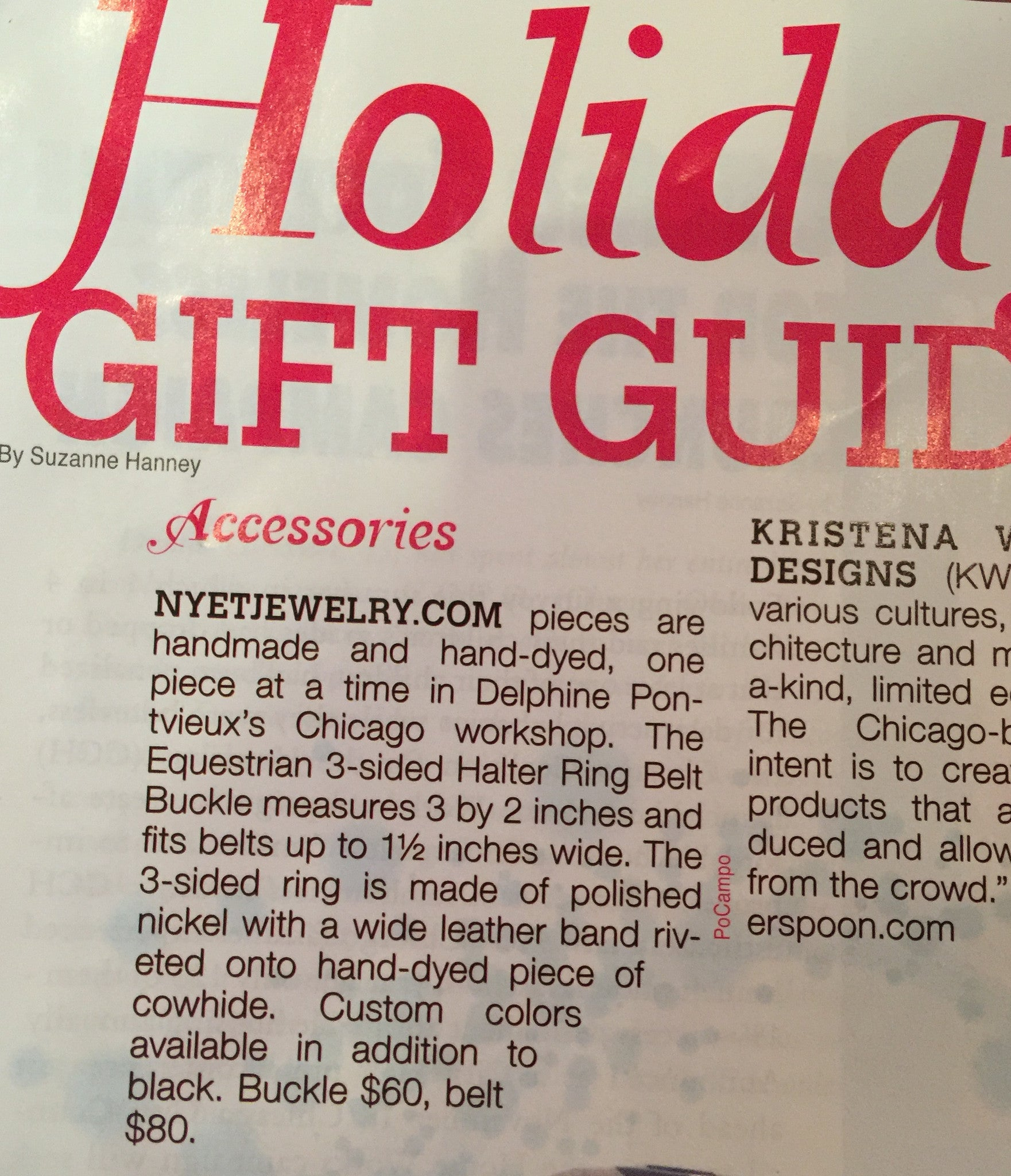 Nyet Jewelry in Streetwise Chicago Holiday Gift Guide issue