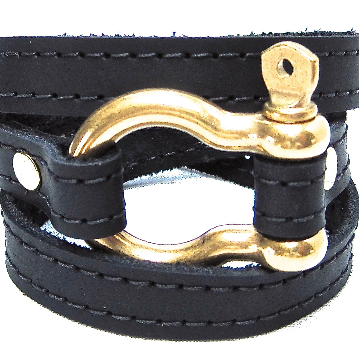 Nyet jewelry Signature Gold Shackle Wraparound Bracelet Black BY NYET JEWELRY
