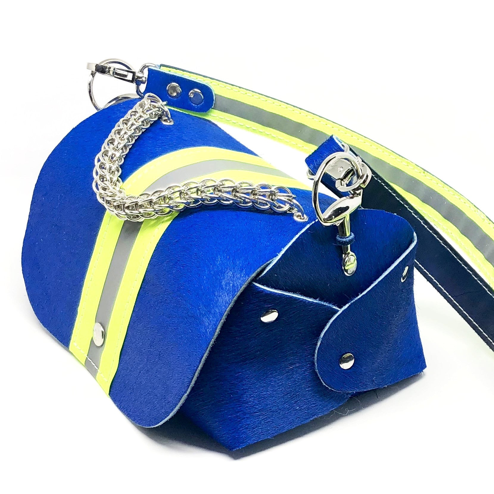 HAIR-ON COWHIDE LEATHER WITH WIDE NEON YELLOW REFLECTIVE TRIM. By NYET Jewelry.
