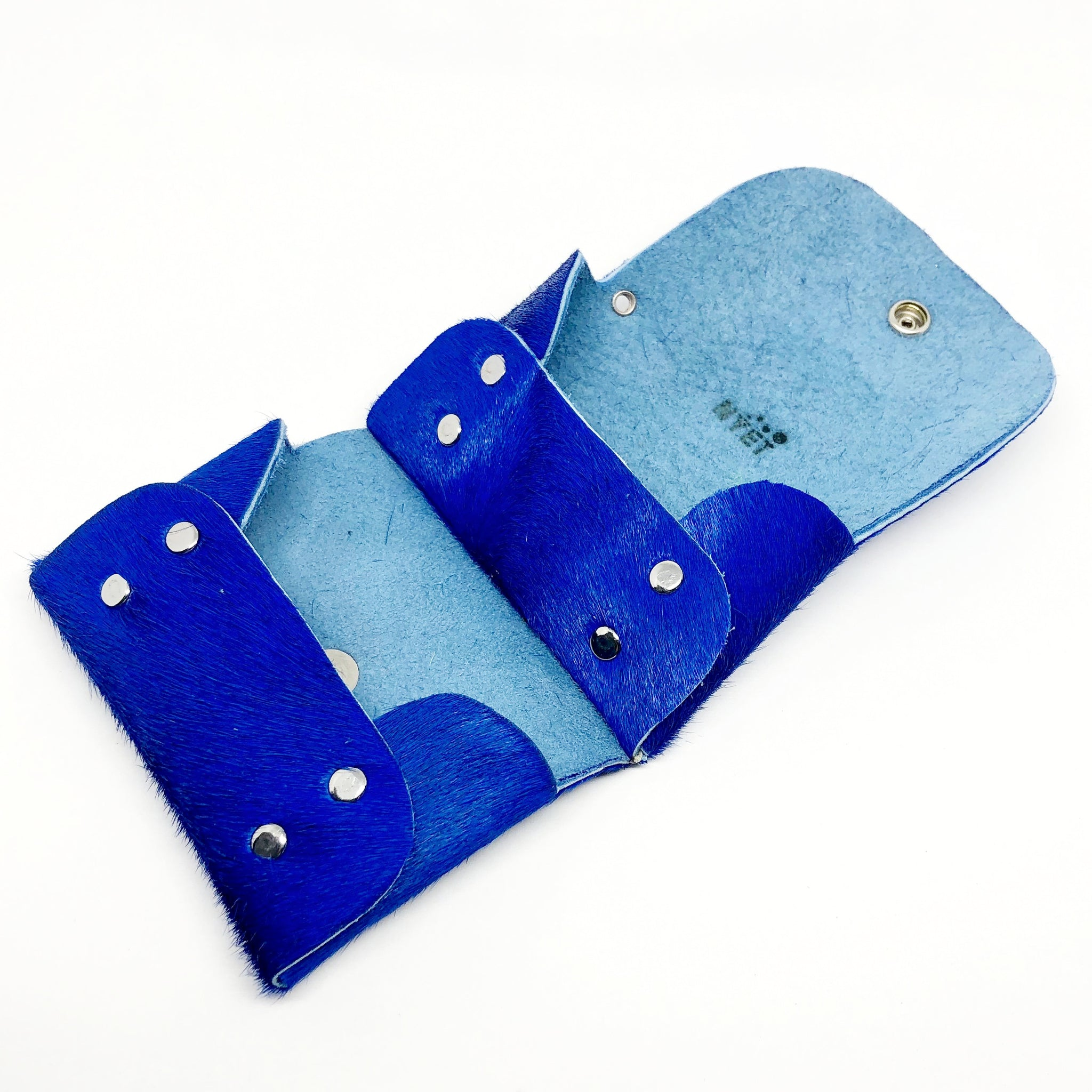COBALT BLUE HAIR-ON COWHIDE 2-COMPARTMENT WALLET WITH SNAP CLOSURE. by NYET Jewelry.