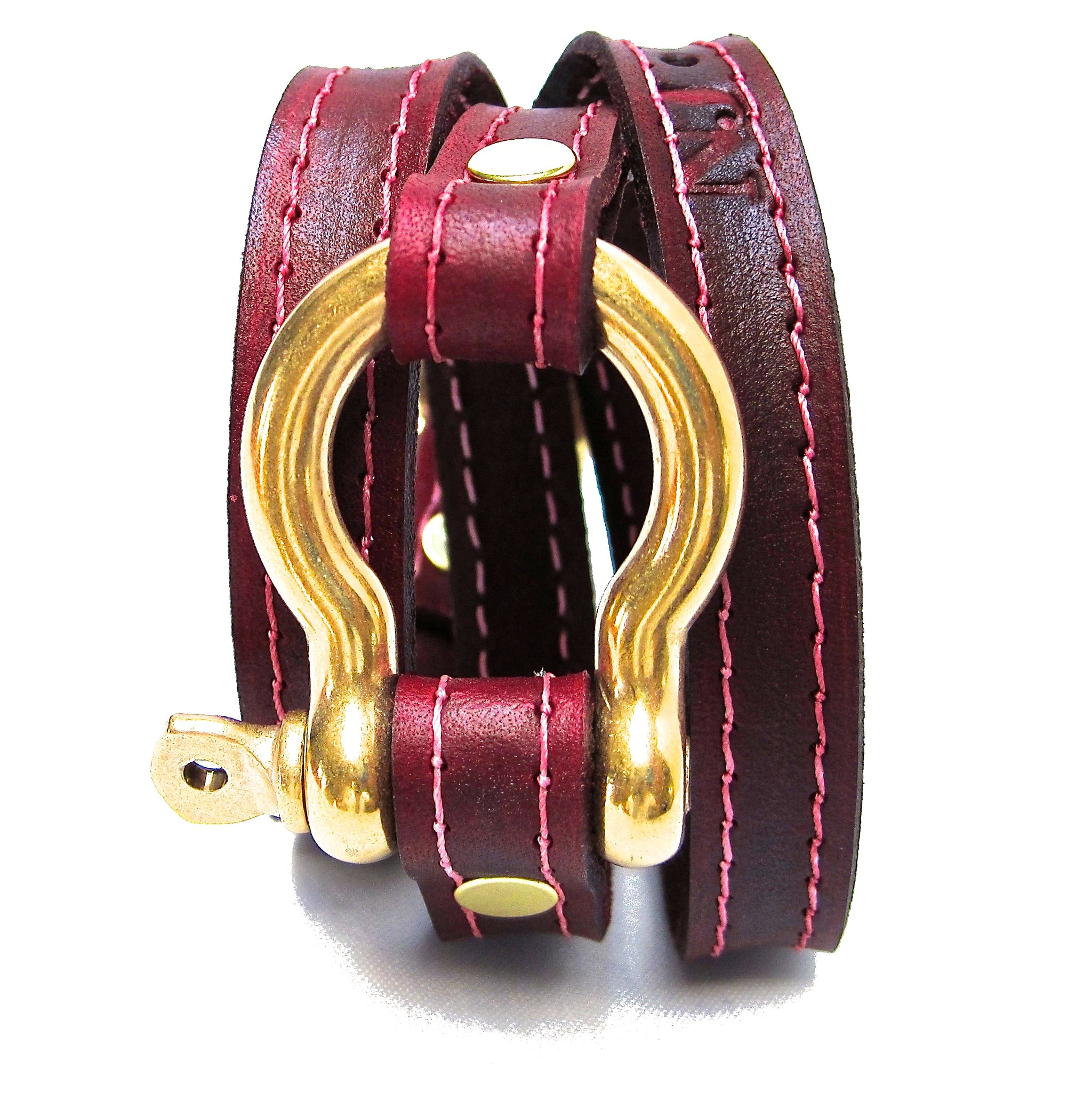 nyet jewelry Signature Gold Shackle Wraparound Bracelet Oxblood BY NYET JEWELRY