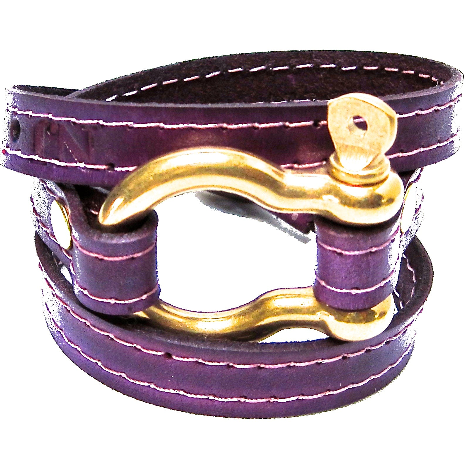 nyet jewelry Signature Gold Shackle Wraparound Bracelet Purple BY NYET JEWELRY