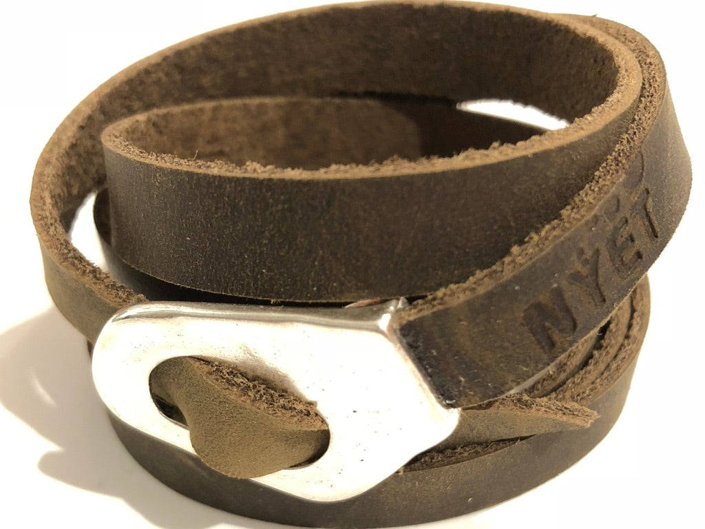 Distressed Utility multi wrap Leather Bracelet Nyet Jewelry