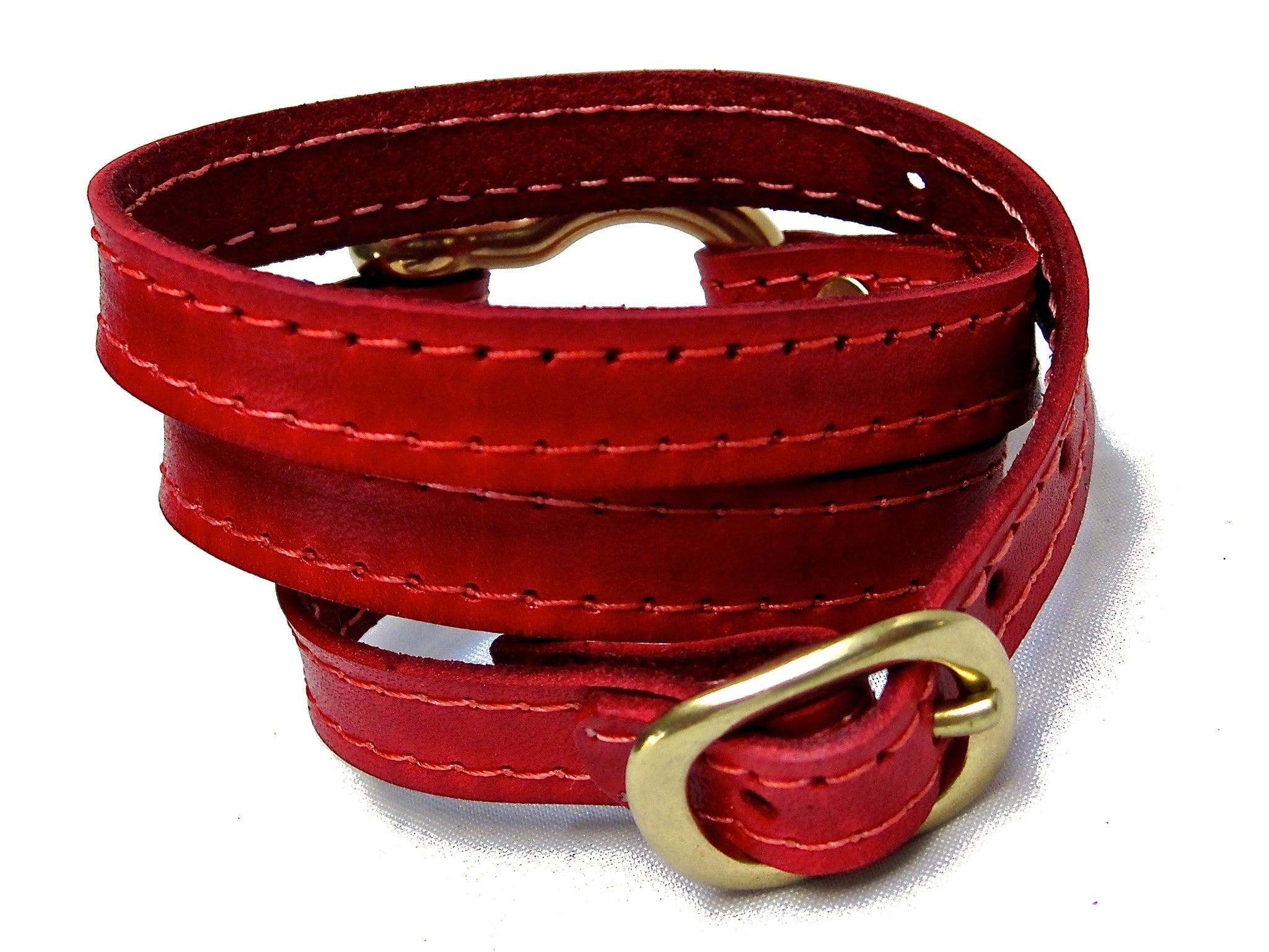 Nyet jewelry Signature Gold Shackle Wraparound Bracelet Red