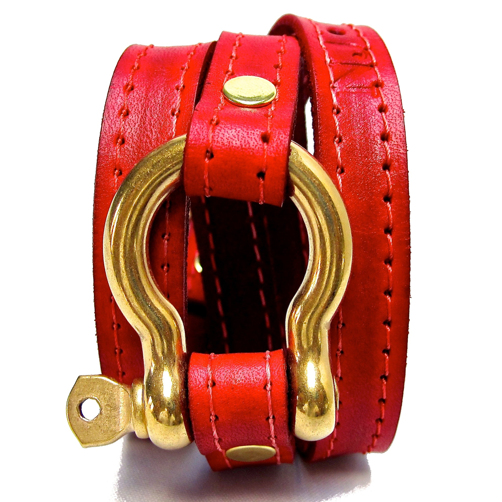 Nyet jewelry Signature Gold Shackle Wraparound Bracelet Red BY NYET JEWELRY