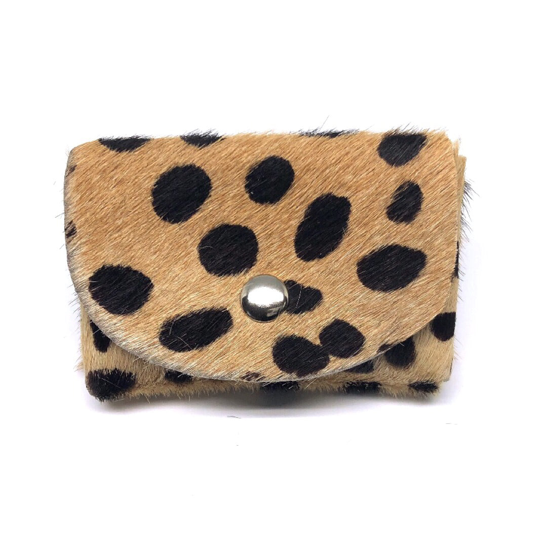CHEETAH PRINT HAIR-ON COWHIDE 2-COMPARTMENT WALLET WITH SNAP CLOSURE. by nyet jewelry