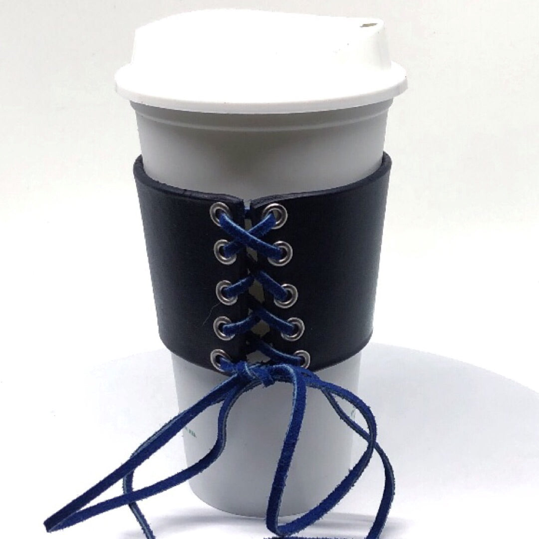 STARBUCKS REUSABLE BEVERAGE CUP WITH LEATHER AND SUEDE HOT CUP SLEEVE by nyet Jewelry