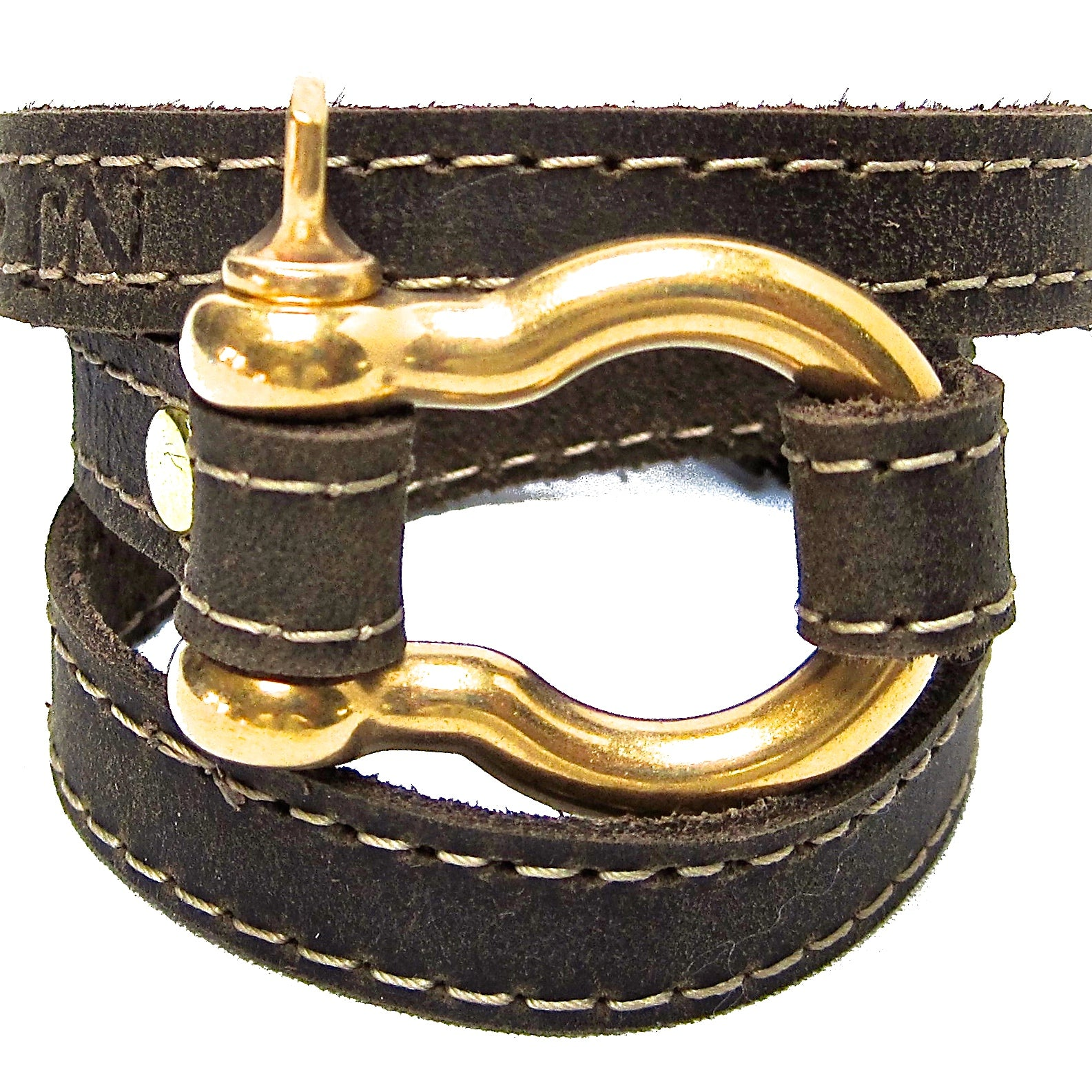 Nyet jewelry Signature Gold Shackle Wraparound Bracelet Distressed Utility Leather BY NYET JEWELRY