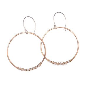 Sparkle moonstone gemstone round simple hoops earring Union Studio Metals