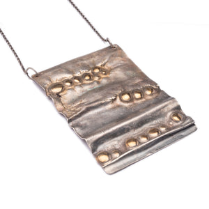 Continental Divide Chest Plate Large Reticulated Silver + Bronze Pendant Necklace ^^^ Union Studio Metals
