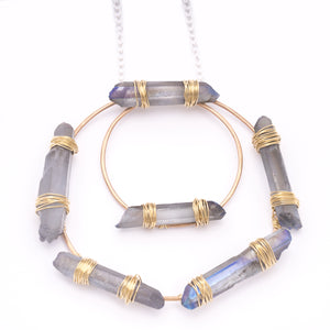 Blue Crystal Hoop Mystic Silver Chain Bronze Union Studio Metals