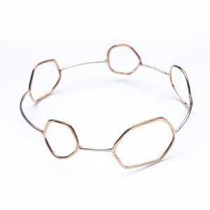 Bronze Modern Minimal Bangle Bracelet Silver Union Studio Metals