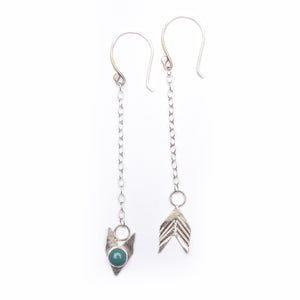 Handmade Boho Turquoise Silver Chain Earrings Union Studio Metals
