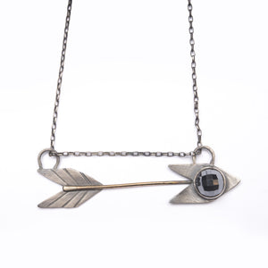 Arrows Horizontal Bronze Silver Hematite Boho Necklace ^^^ Union Studio Metals