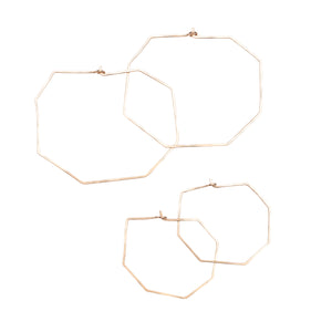 Hexagon Geometric Geo Bold Gold Hoop Earring Union Studio Metals