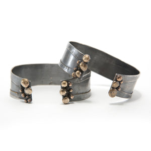 Thin Silver Bronze Cuff Bracelet Organic Pebble Jewelry Union Studio Metals