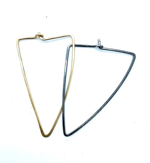 2 TONE TRIANGLE HOOPS EARRINGS