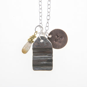 Fold Formed Silver Oxidized Rose Gold Fill Charm Labradorite Stone Crossed Arrows Union Studio Metals