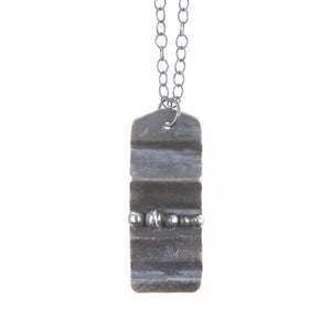Dog Tag Silver Folded Black Gray Silver Necklace Pendant Chain Union Studio Metals