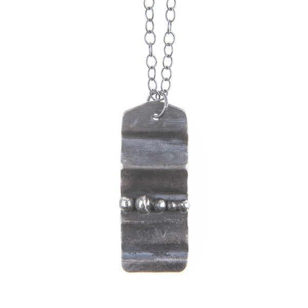 Continental Divide Silver Dog Tag Necklace