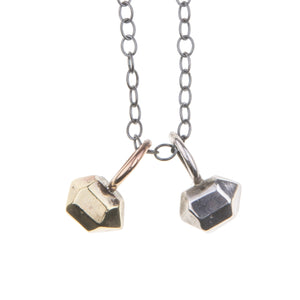 Faceted Tiny Hand Carved Modern Silver or Bronze Crystal Pendants ^^^ Union Studio Metals