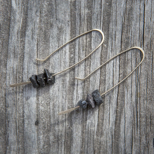 Black Toumaline Sleek Raw Stone Chunk Earrings Union Studio Metals