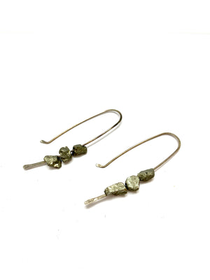 HOOKS & STONES RAW PYRITE EARRINGS