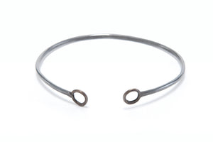 Minimal Oxidized Black Shiny Bronze Circle Adjustable Cuff Bracelet Union Studio Metals