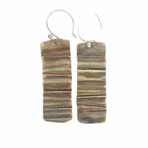 Brass Brown Antiqued Folded Metal Silver Ear Wire Earrings Union Studio Metals