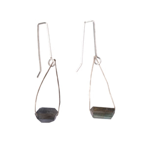 Lab Gemstone Contemporary Gems Hook Hoop Earrings Union Studio Metals
