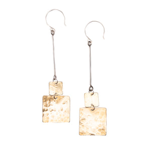 GEO LONG STICK SQUARE EARRINGS