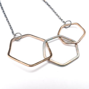 Drifter Bronze Black Silver Bronze Triple Octagon Necklace ^^^ Union Studio Metals