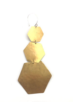 GEO 3 HEXAGON EARRINGS