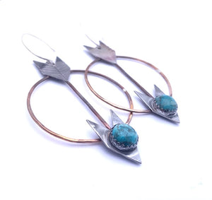 Turquoise Arrows Circle Earrings ^^^ Union Studio Metals