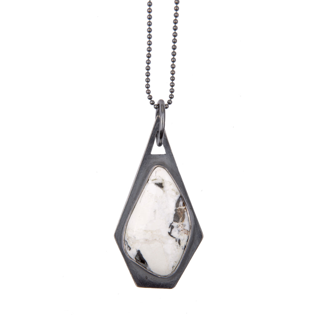 Faceted White Buffalo Pendent 2