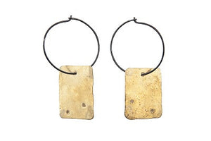 Patina Silver Dangle Brass Geo Boho Earrings Union Studio Metals