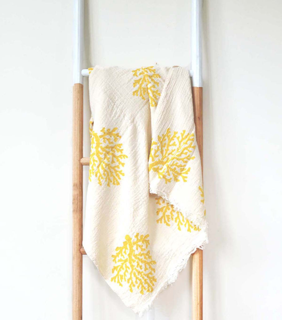 NATURAL WOOD BLOCK PRINT FOUTA